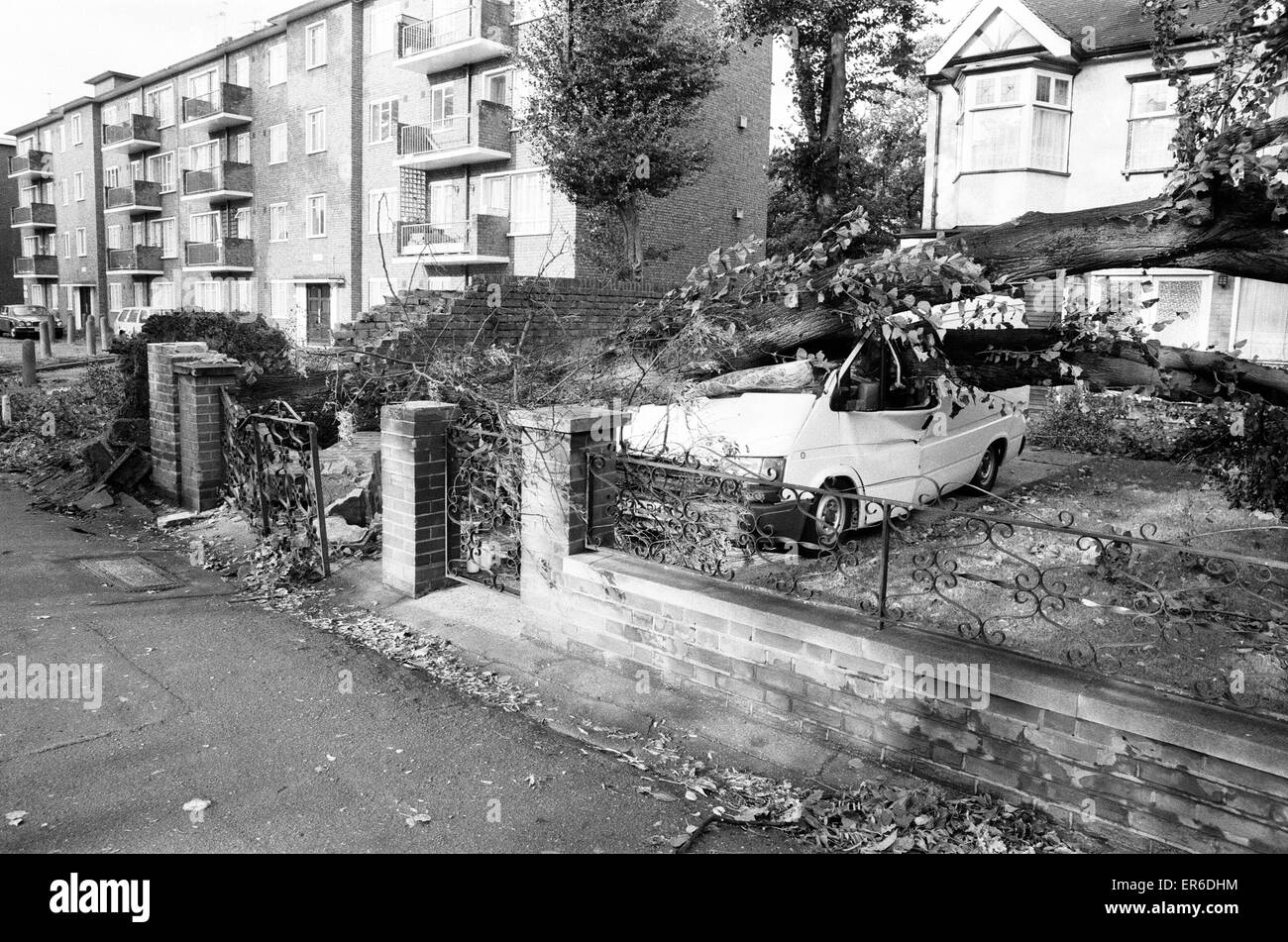 The 1987 Great Storm occurred on the night of 15 ? 16th October 1987. An unusually strong weather system caused - Stock Image