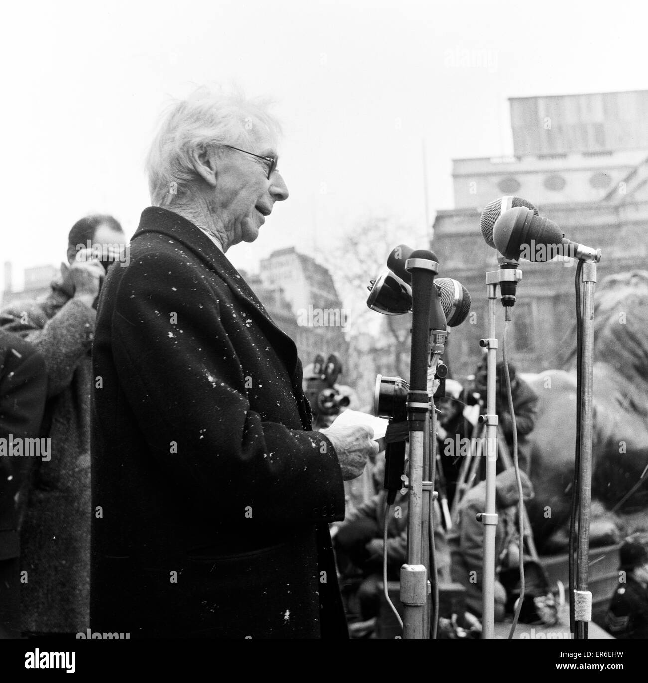 Veteran Philosopher Bertrand Russell braved today's Arctic weather to address a meeting to several thousand supportersStock Photo
