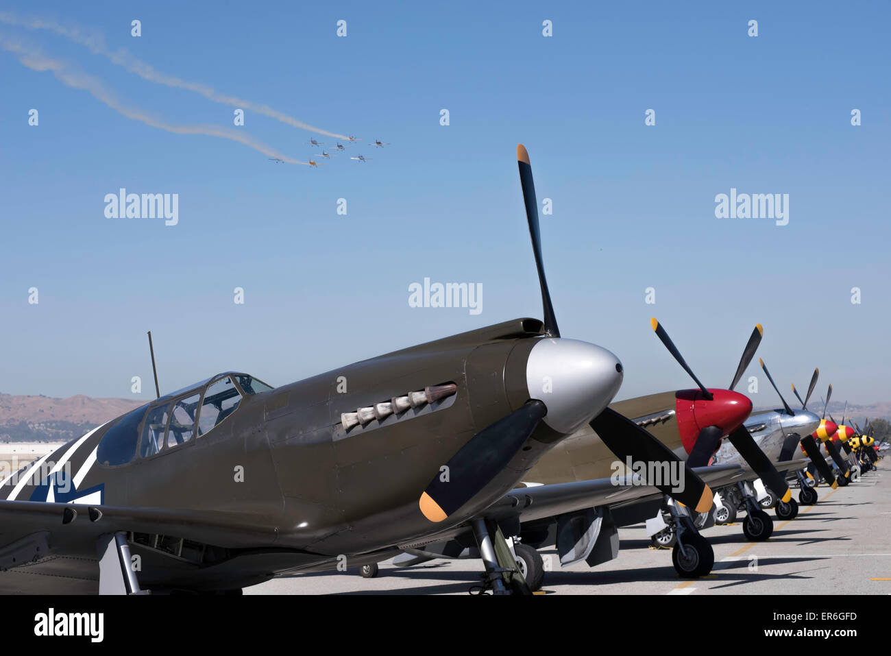 WW2 fighter planes on the ground and in the air - Stock Image