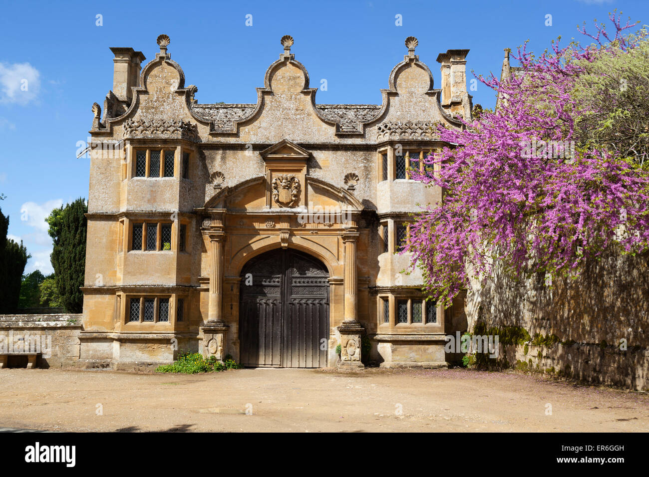 Gatehouse of Stanway House, Stanway, Cotswolds, Gloucestershire, England, United Kingdom, Europe - Stock Image