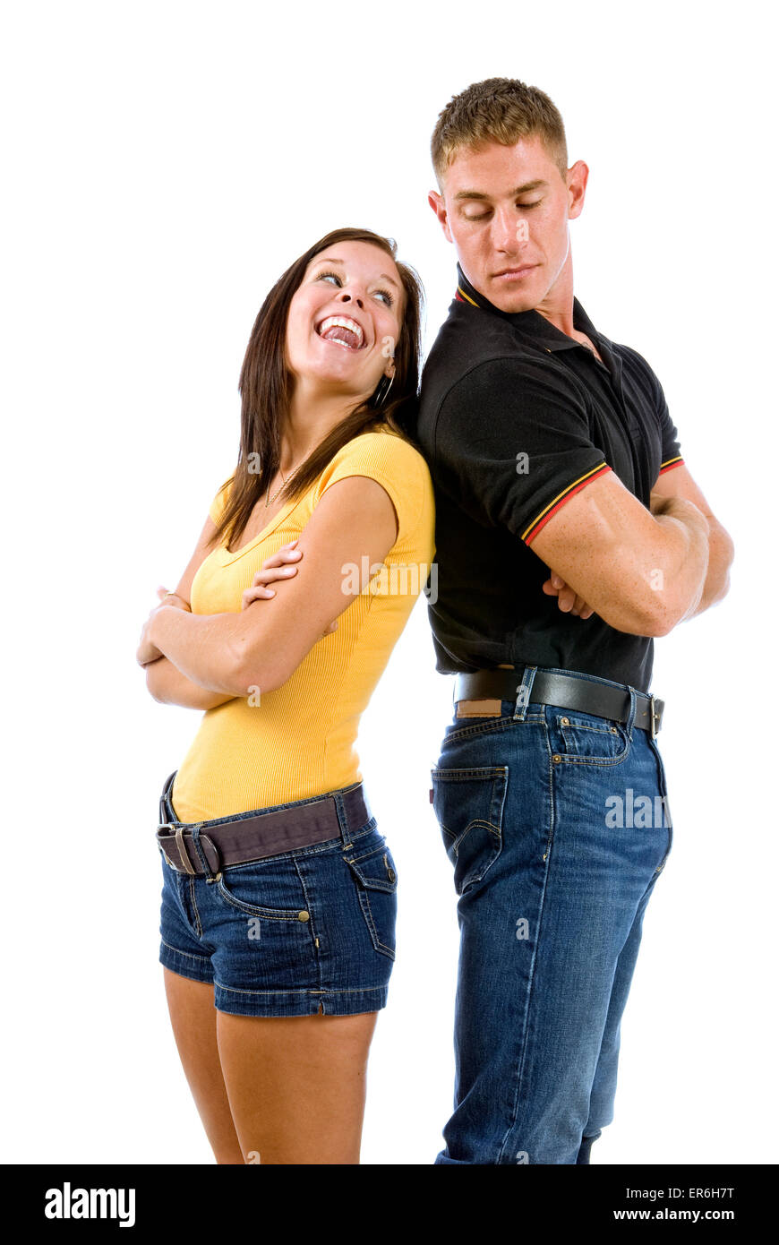Young Couple Making Up After Argument - Stock Image