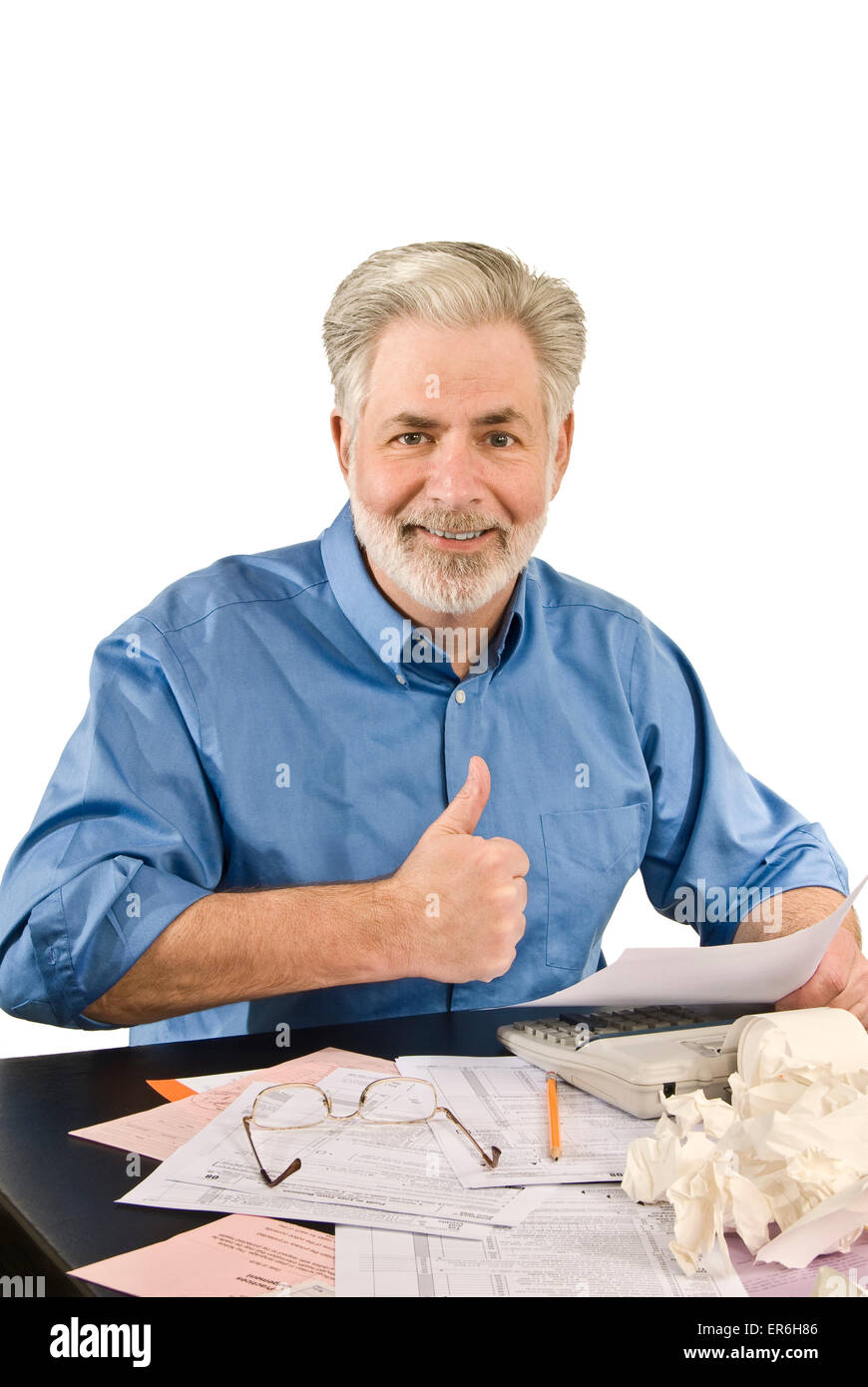 Business man happy.  Getting an income tax refund. - Stock Image