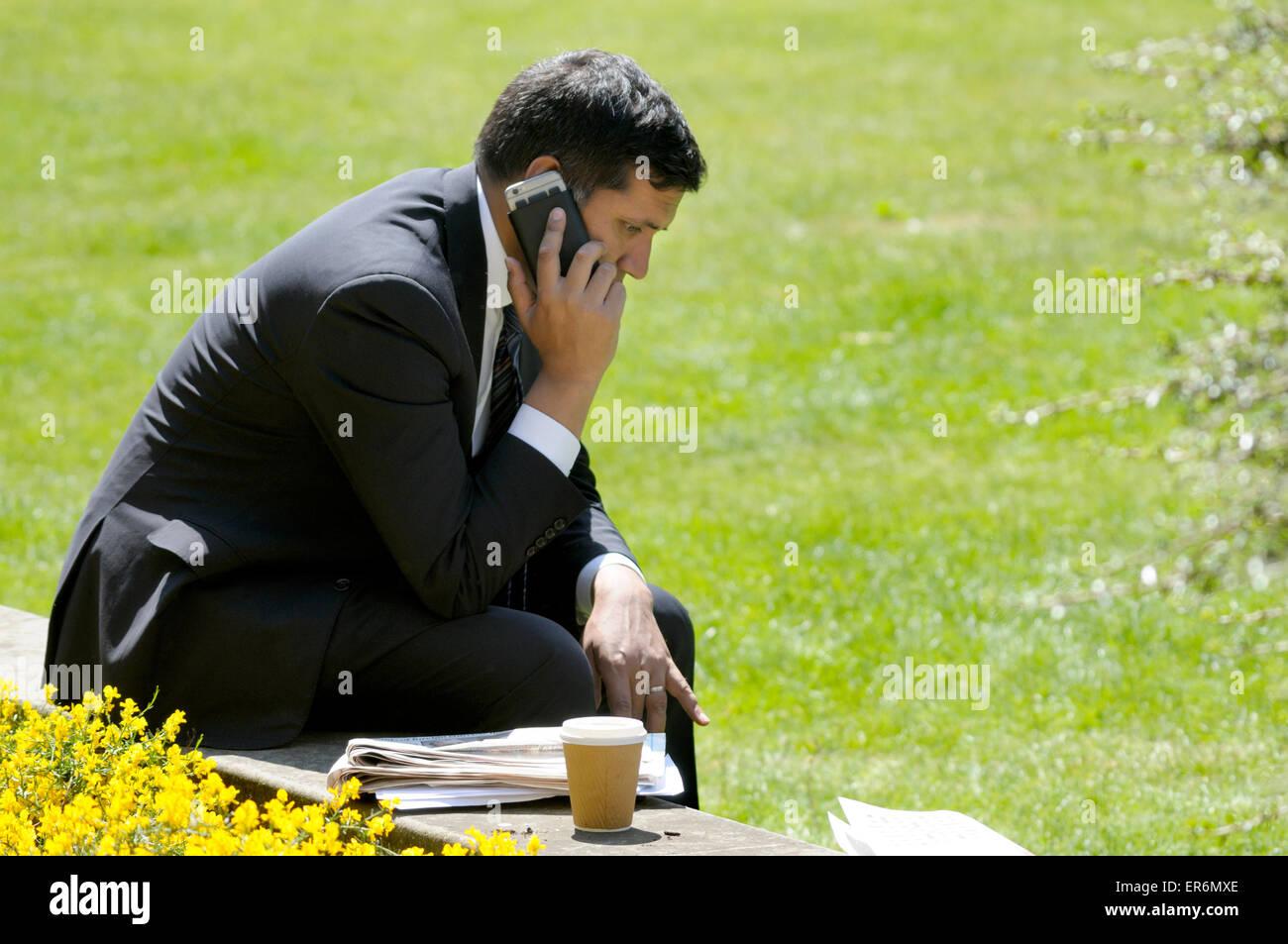 Faisal Islam, Sky TV News political editor, on College Green, Westminster after the 2015 Queen's Speech. - Stock Image