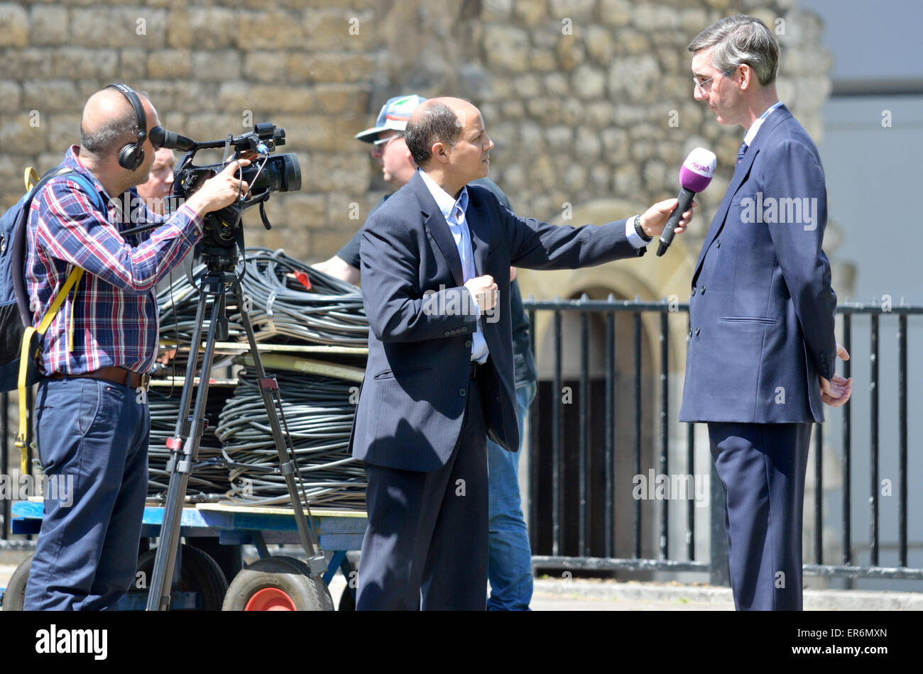 Jacob Rees-Mogg MP (Conservative, North East Somerset) being interviewed on College Green, Westminster after the - Stock Image