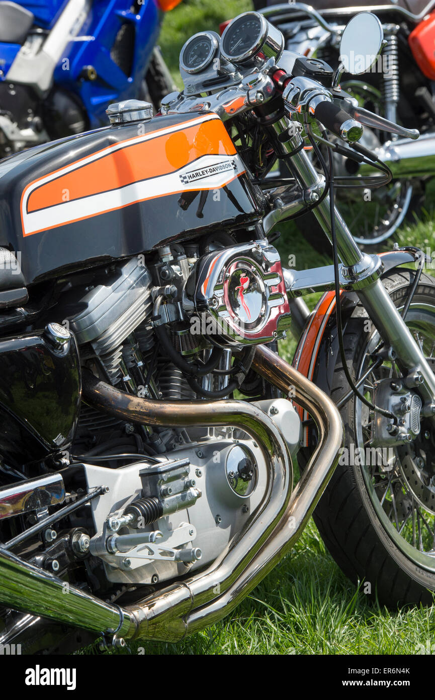 Custom Harley Davidson Cafe Racer Motorcycle At A Bike Show In England