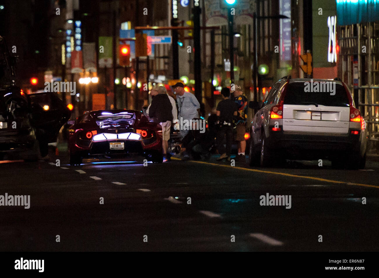 Toronto, Canada. 27th May, 2015. The Joker's car, a modified Vaydor G34 can be seen on the movie set for action - Stock Image