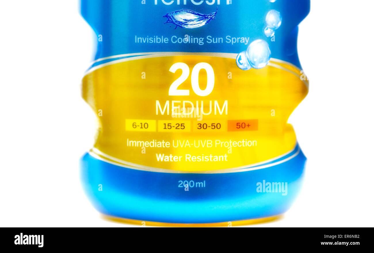 A bottle of nivea factor 20 cooling sun spray 200ml - Stock Image