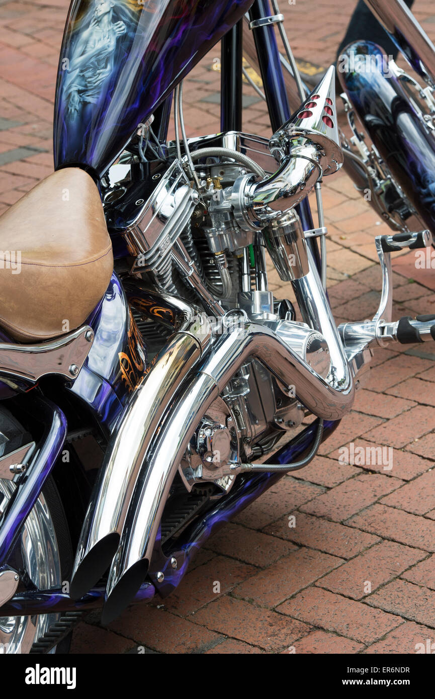 Custom chopper motorcycle at a bike show in England - Stock Image