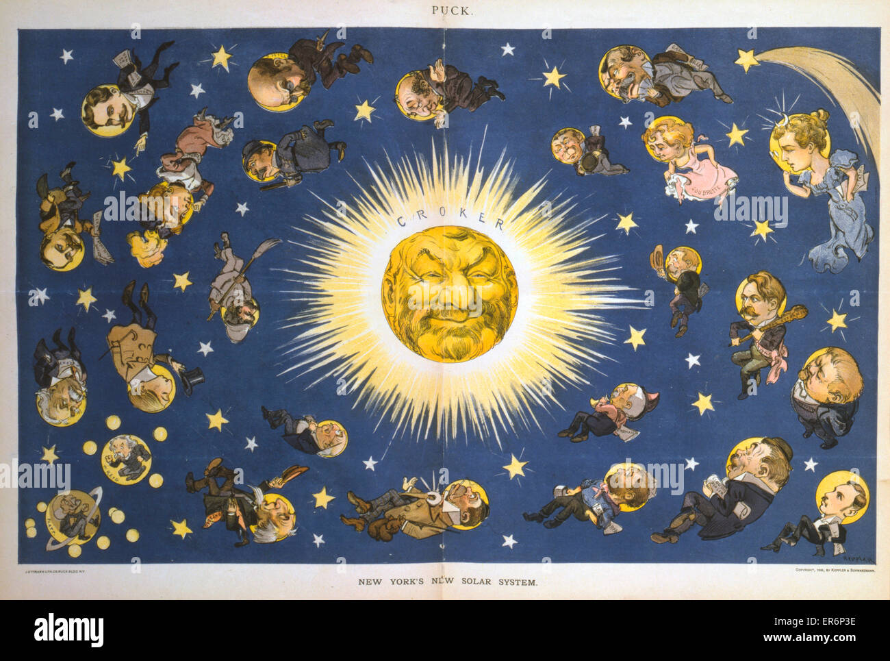 New York's new solar system. Caricature showing politicians and people representing different professions revolving - Stock Image
