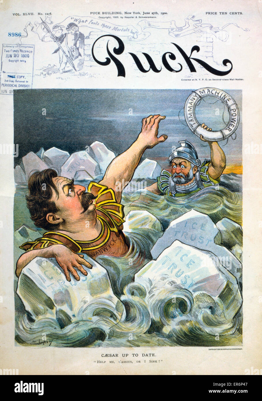 Caesar up to date. Robert Van Wyck, in body of water, holding onto ice blocks ice trust, and saying to man wearing - Stock Image