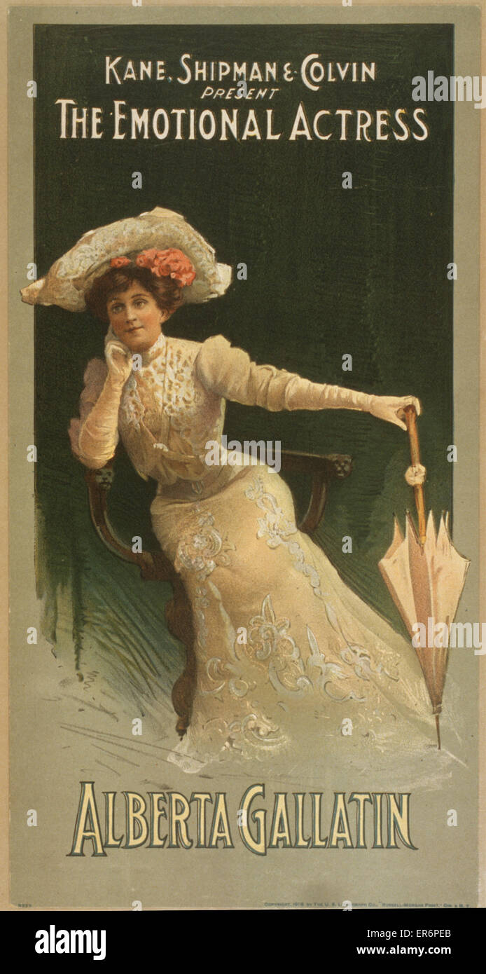 Kane, Shipman & Colvin present the emotional actress, Alberta Gallatin. Date c1906. - Stock Image