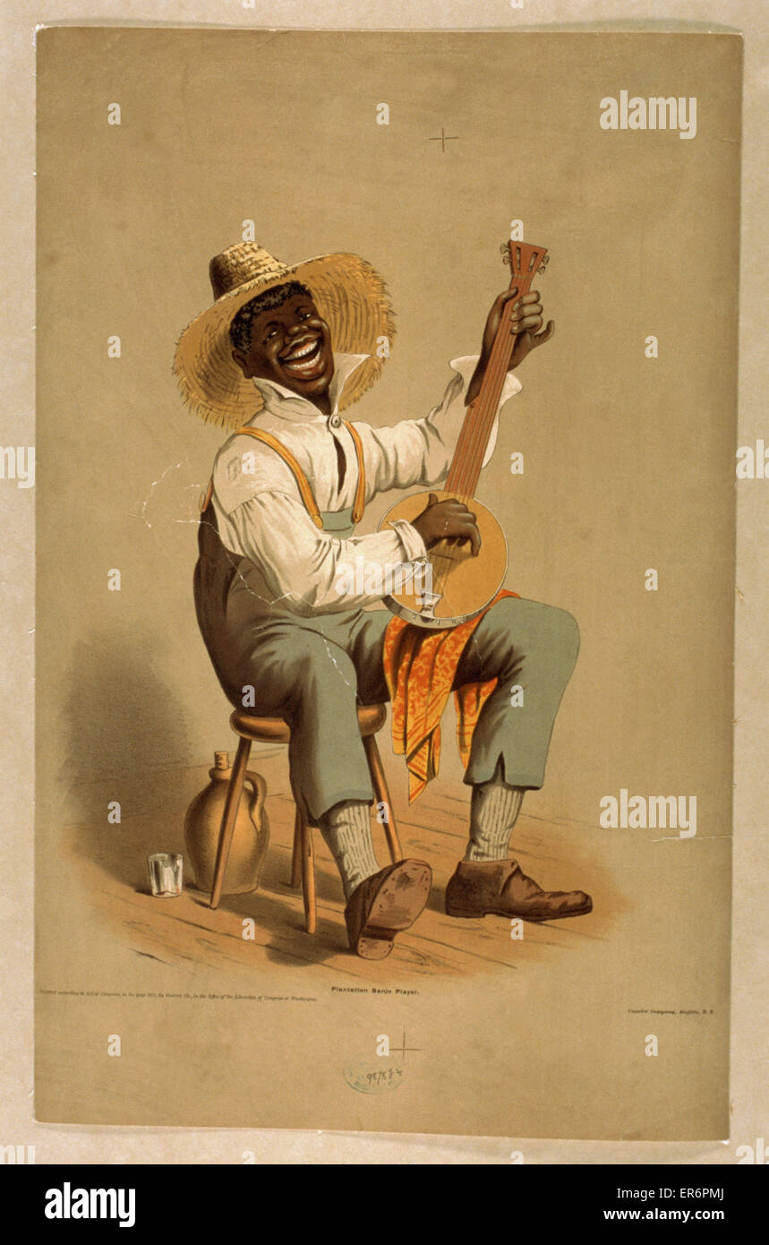 Plantation banjo player. Date c1875. - Stock Image