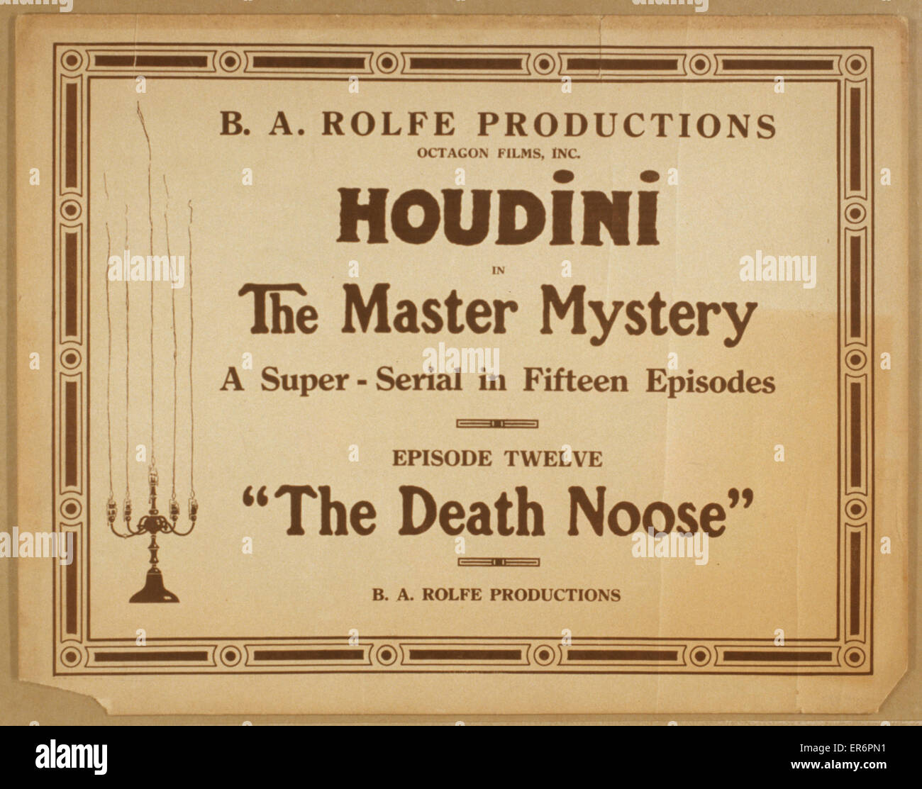 Houdini in The master mystery a super-serial in fifteen episodes. Date 19 - ?. - Stock Image