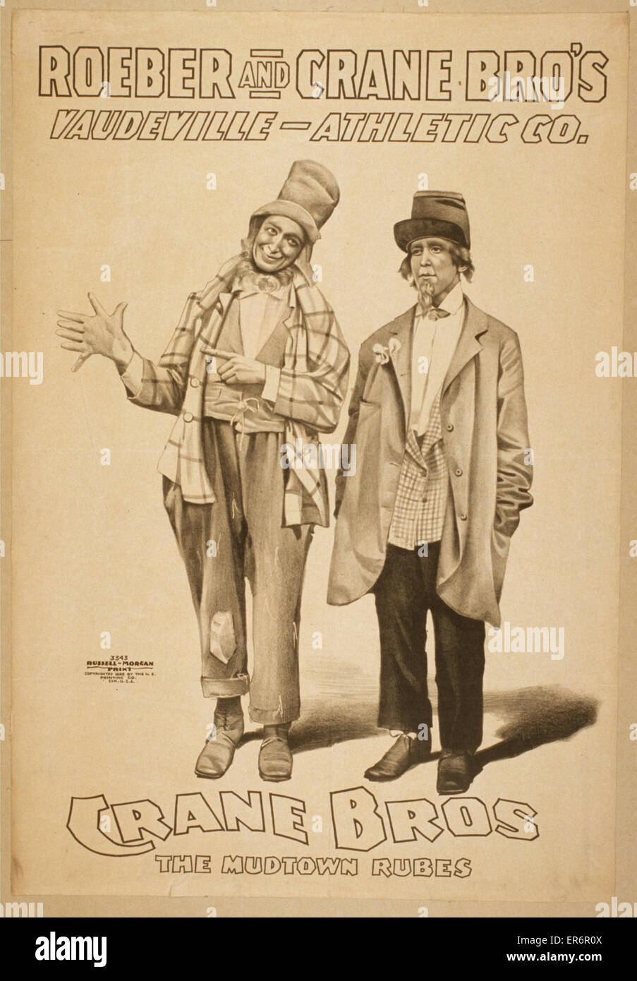 Roeber and Crane Bro's Vaudeville-Athletic Co. Date c1898. - Stock Image