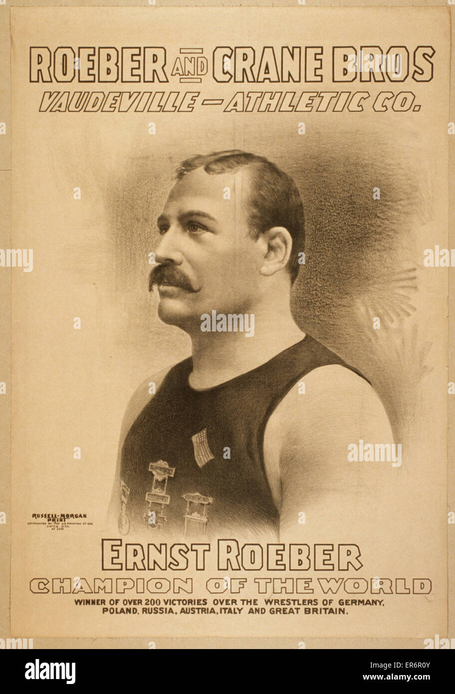 Roeber and Crane Bros Vaudeville-Athletic Co. Date c1898. - Stock Image