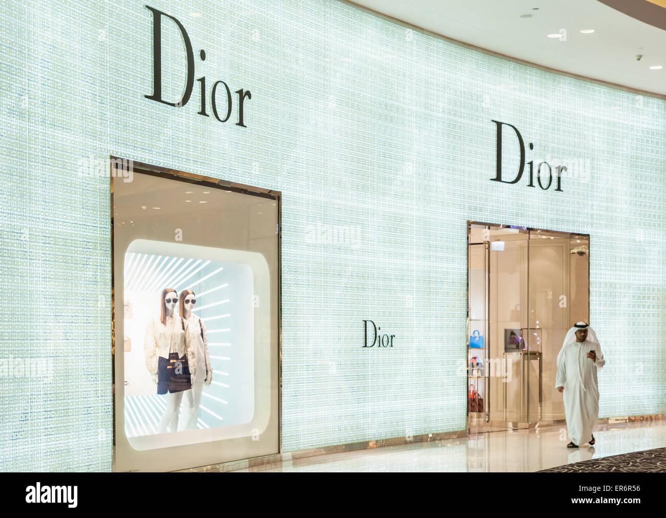 Arab shopper outside Christian Dior Shop Dubai Mall Dubai City United Arab Emirates UAE Middle east - Stock Image