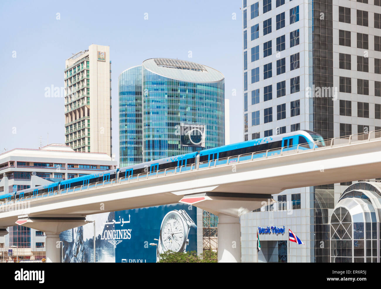Dubai Metro on Sheikh Zayed Road Dubai City United Arab Emirates UAE Middle east - Stock Image