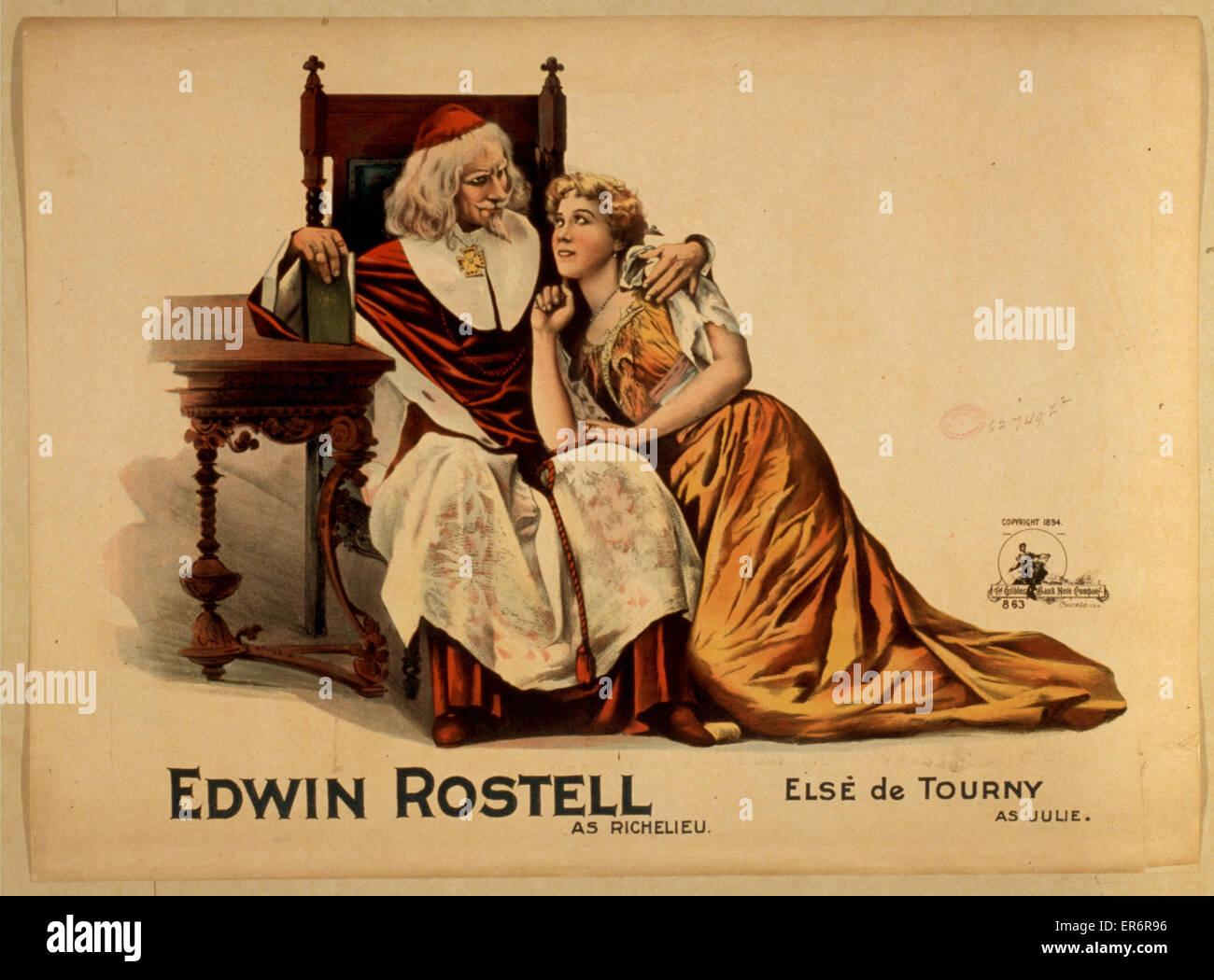 Edwin Rostell as Richelieu, Els de Tourny as Julie. Date c1894. - Stock Image