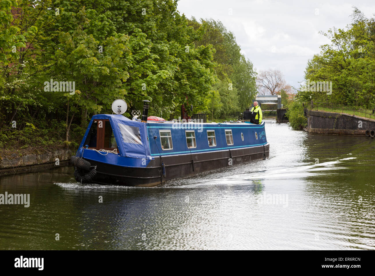 Narrowboat on the Bridgewater Canal, Manchester - Stock Image