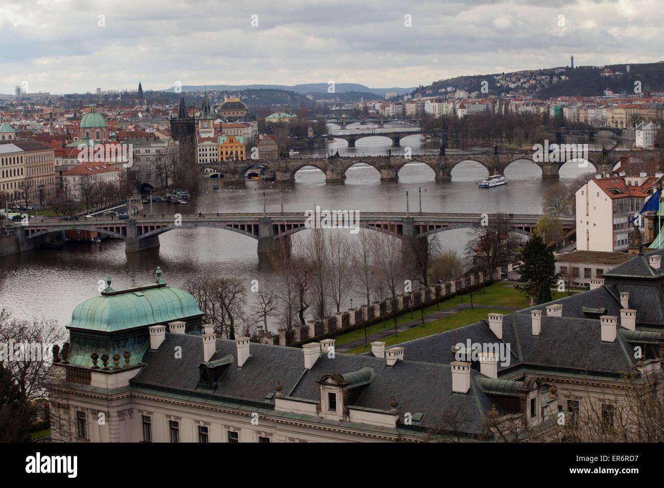 Prague: Letna Park: Prague Bridges Stock Photo
