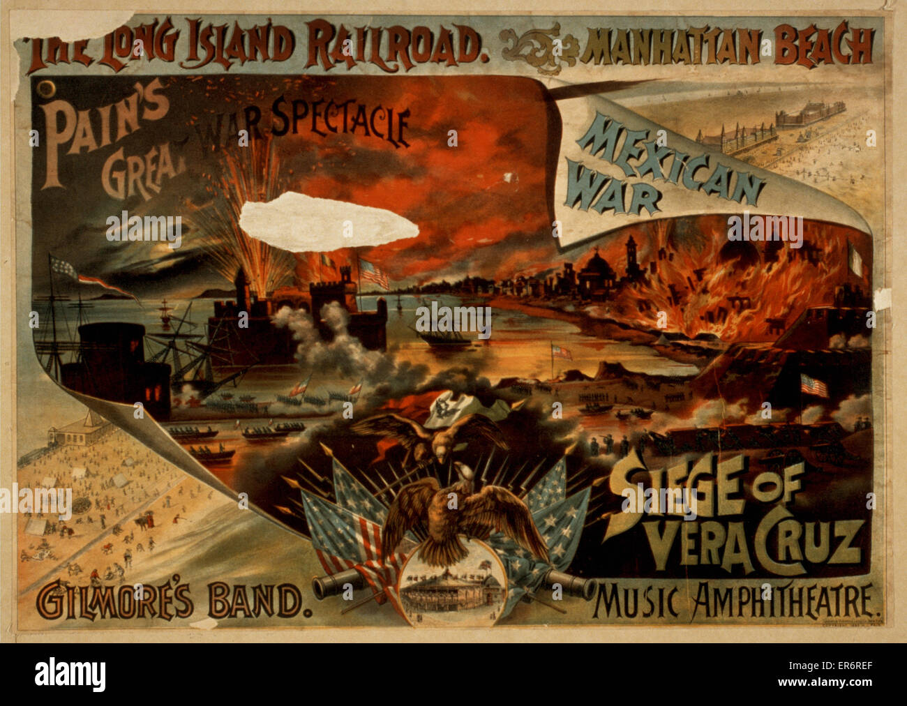 Pain's great war spectacle, Mexican War, Siege of Vera Cruz. Date c1890. - Stock Image