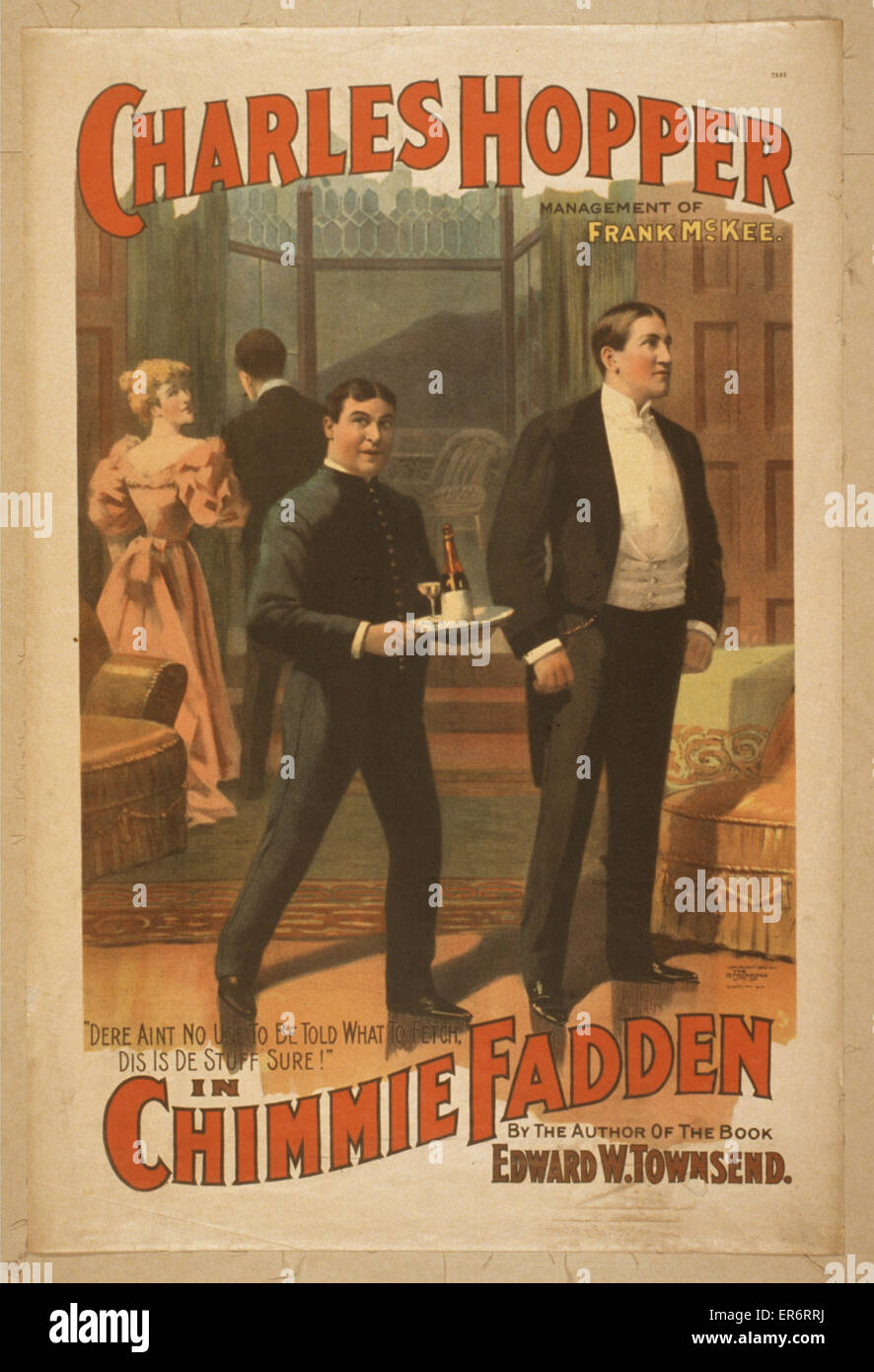 Charles Hopper in Chimmie Fadden by the author of the book, Edward W. Townsend. Date c1896. - Stock Image