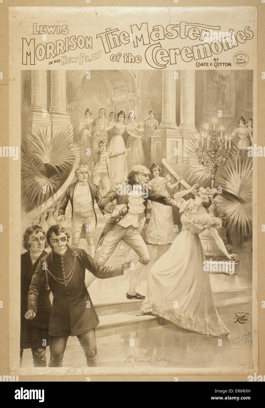 Lewis Morrison in his new play, The master of the ceremonies by Coate & Cotton. Date c1897. - Stock Image