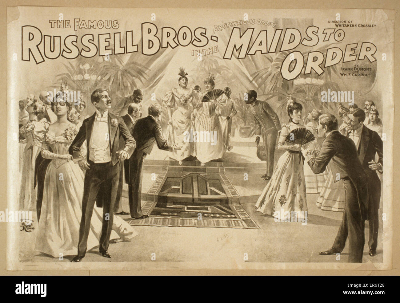 The famous Russell Bros. in the pretentious oddity, Maids to order by Frank Dumont and Wm. F. Carrol. Date c1898. - Stock Image