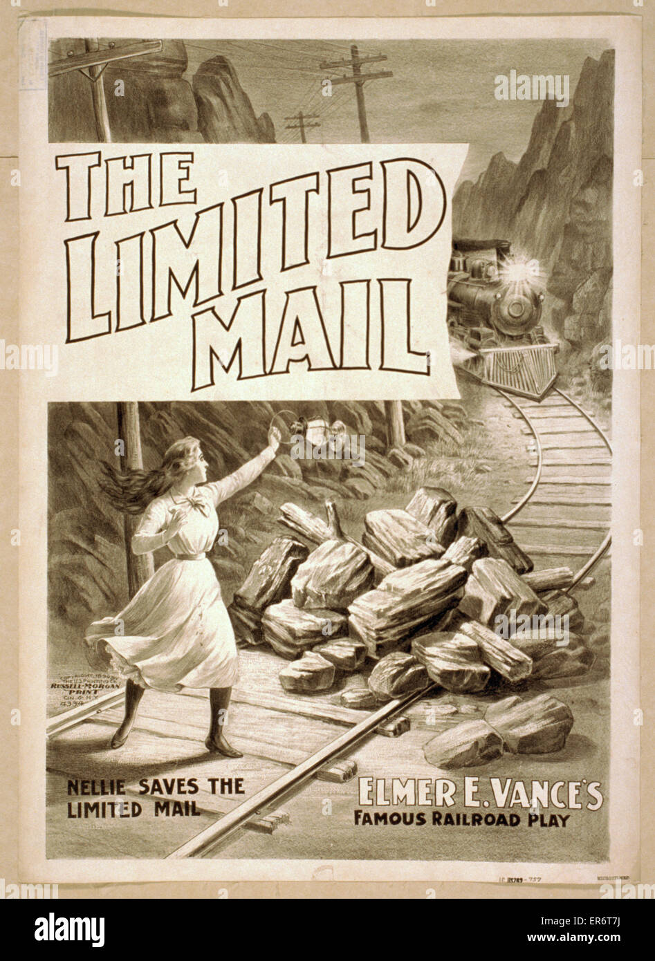 The limited mail Elmer E. Vance's famous railroad play. Date c1899. - Stock Image