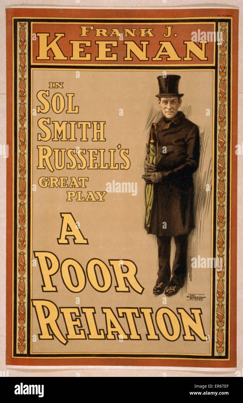 Frank J. Keenan in Sol Smith Russell's great play, A poor relation. Date c1900. - Stock Image