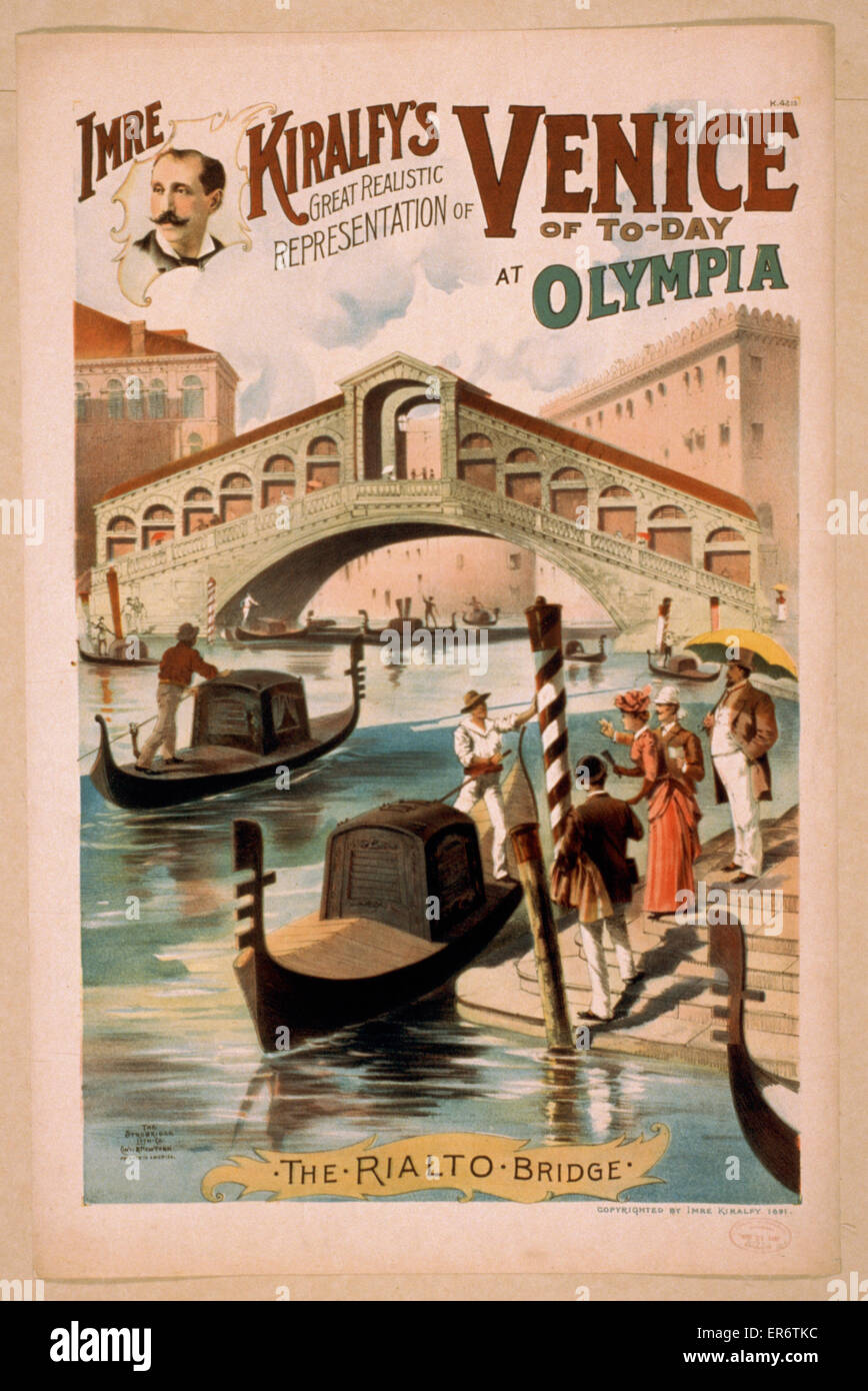 Imre Kiralfy's great realistic representation of Venice of to-day at Olympia. Date c1891. - Stock Image