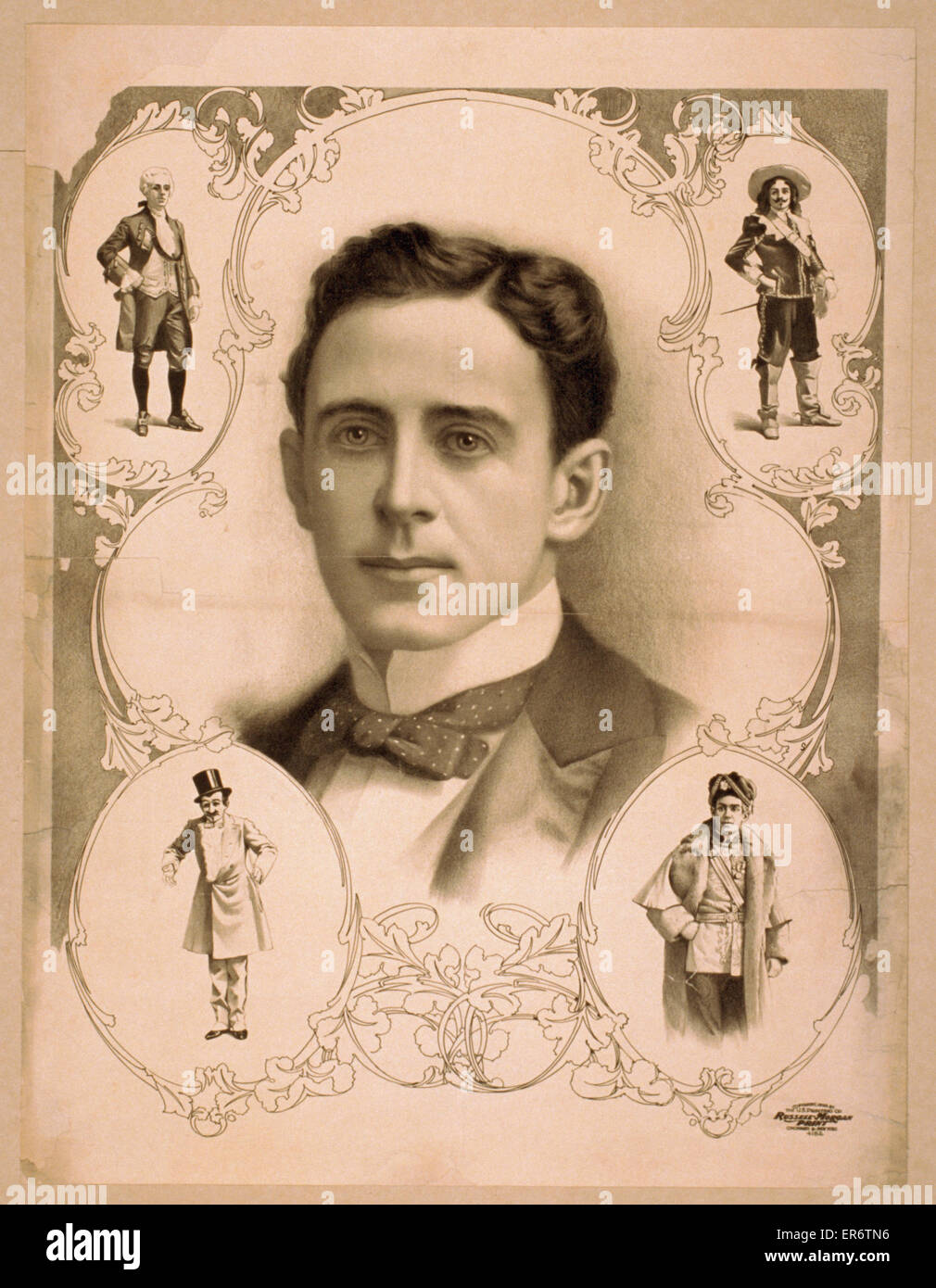 Bust image of man in bowtie surrounded by four images of same man in costume. Date c1899. - Stock Image