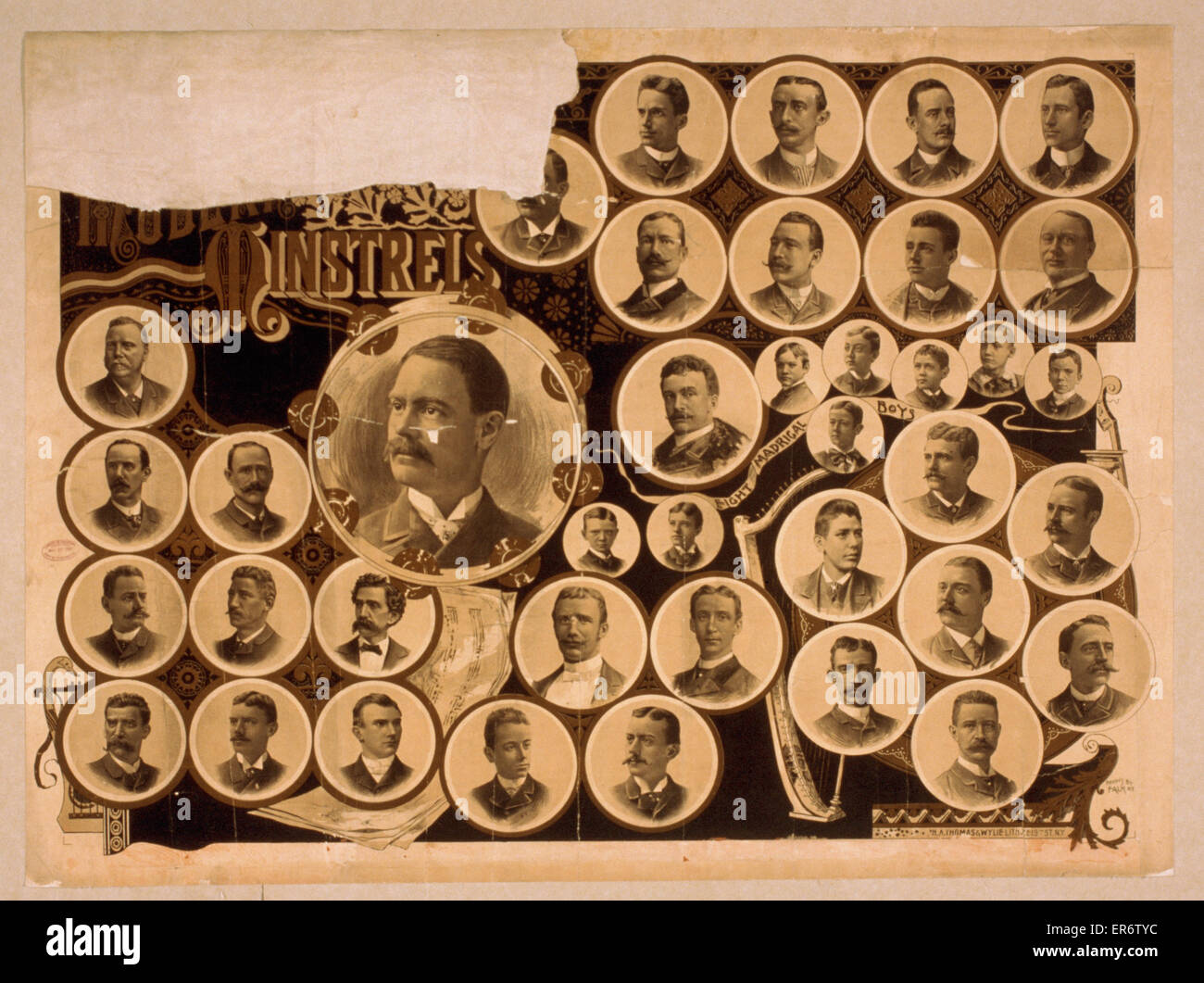 Modern Minstrels. Consists of multiple portraits, including the Eight Madrigal Boys. Date 1887. - Stock Image