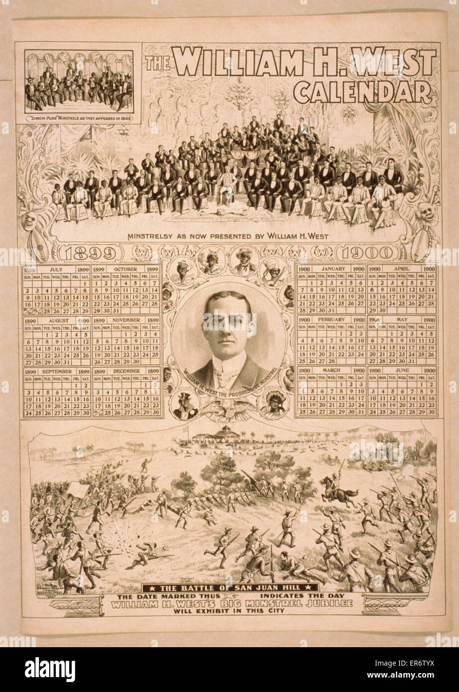 The William H. West calendar. Consists of calendars for July 1899-June 1900, portrait of West, vignettes of his - Stock Image