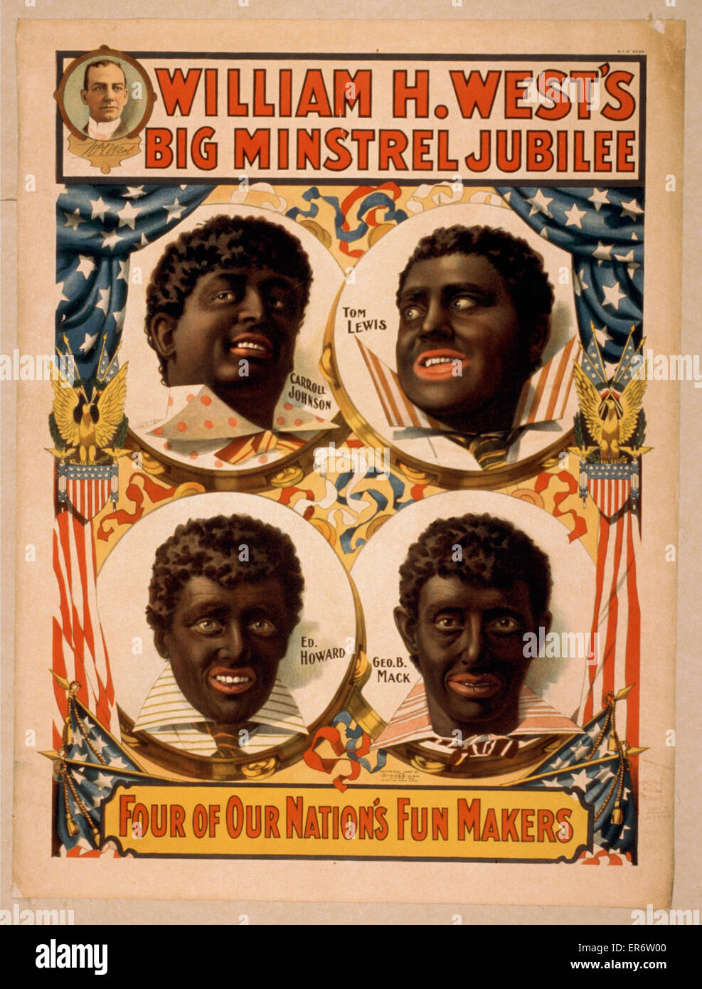 William H. West's Big Minstrel Jubilee. Consists of portraits of Carroll Johnson, Tom Lewis, Geo. B. Mack, and - Stock Image