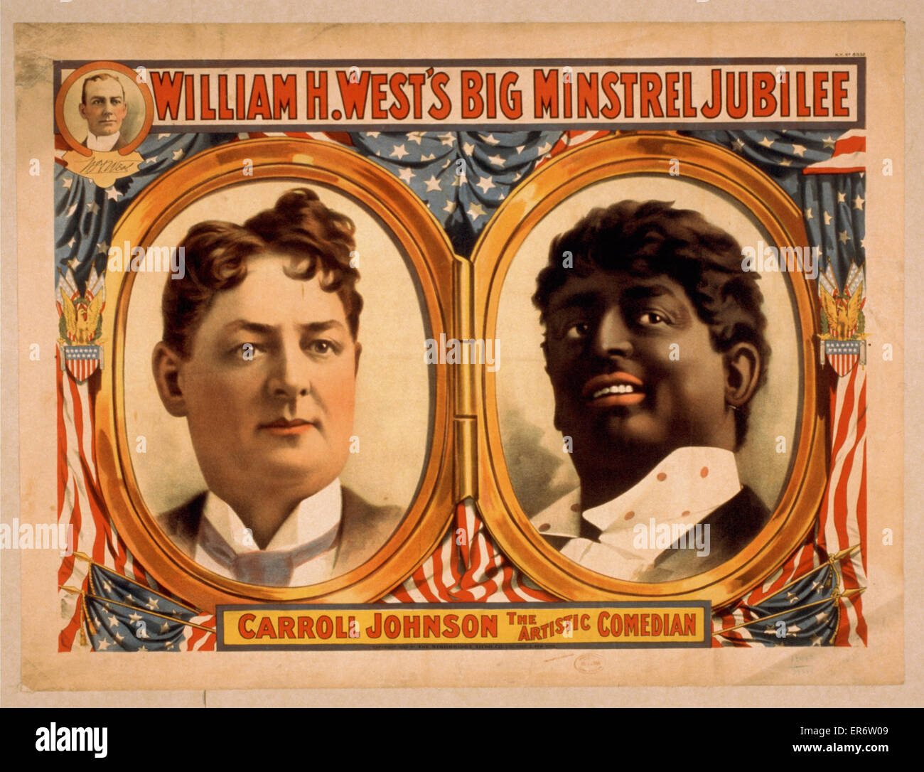 William H. West's Big Minstrel Jubilee. Consists of portraits of Carroll Johnson, one as himself and one in - Stock Image