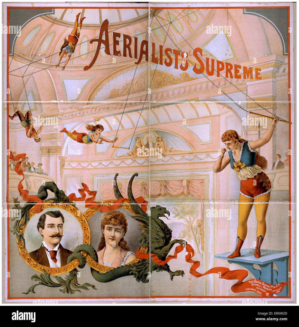 Aerialists supreme. Date c1892. - Stock Image