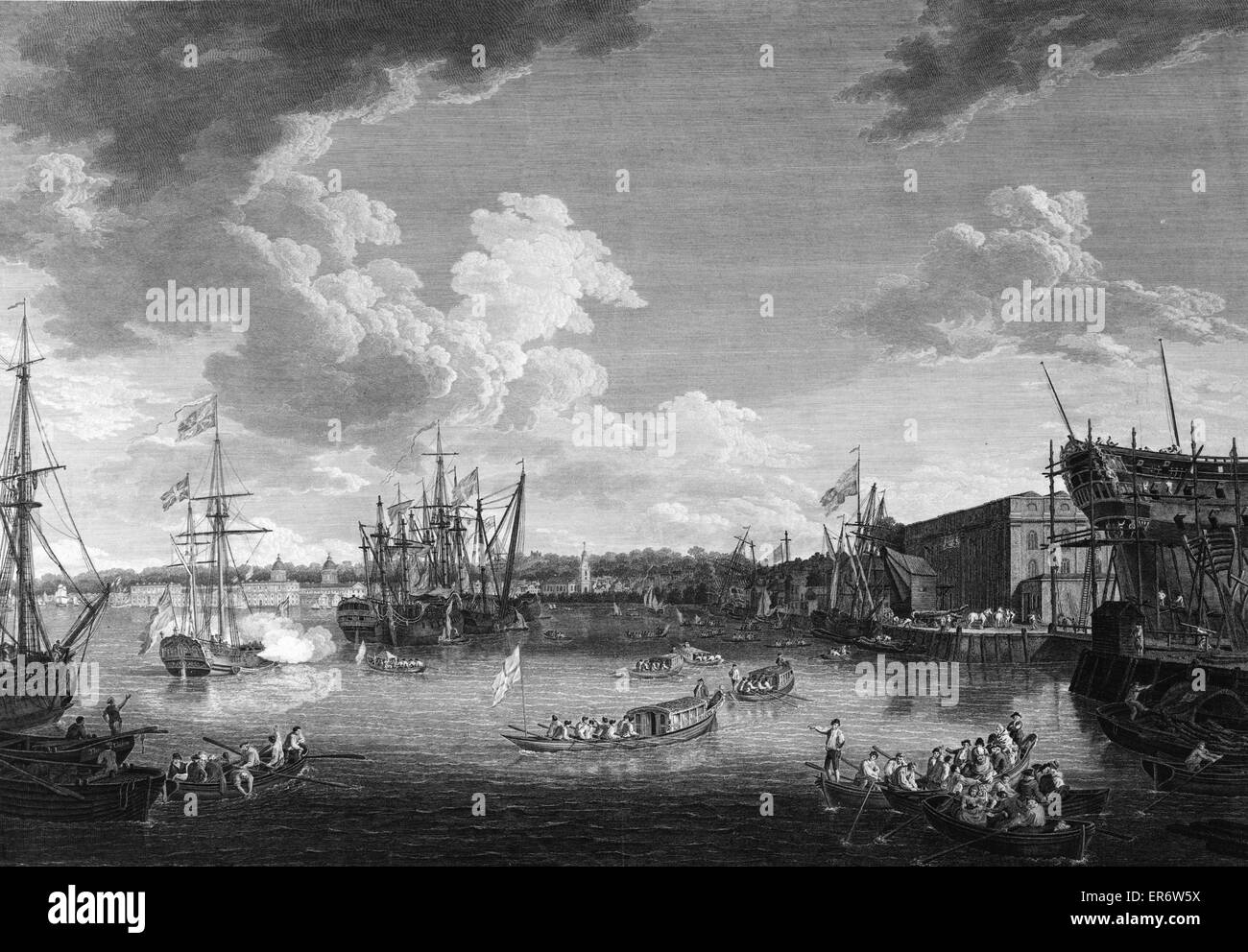 To the King's most excellent majesty, this view of the royal dock yard at Deptford  Boats on Thames River and - Stock Image