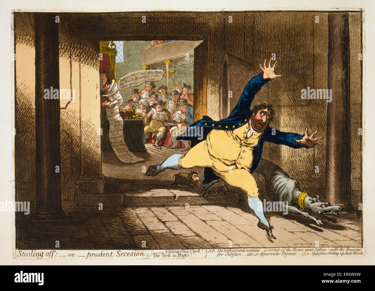Stealing off; - or - prudent Secession. Charles Fox fleeing the House of Commons in terror, accompanied by a fierce - Stock Image