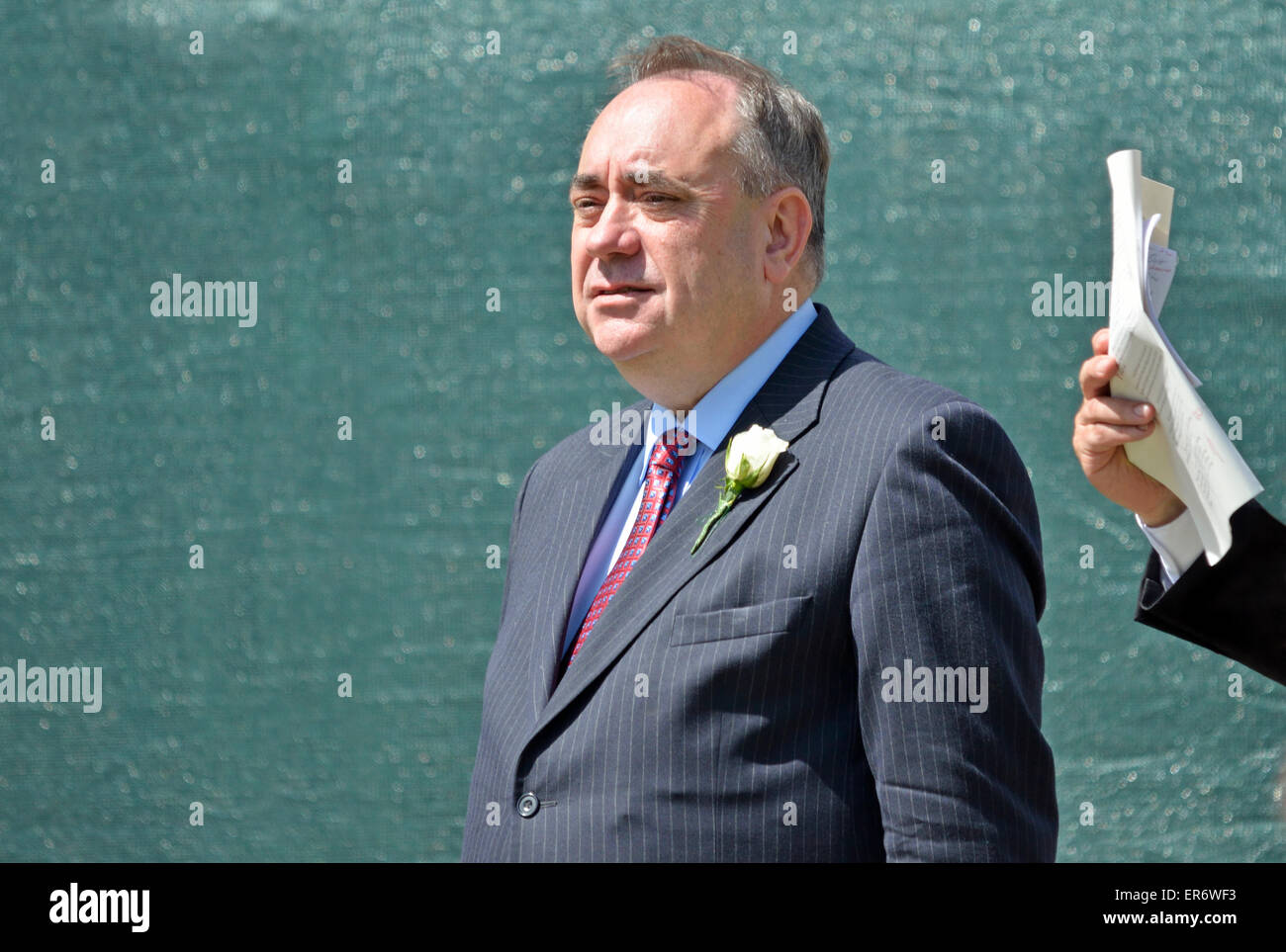 Alex Salmond MP (SNP: Gordon) on College Green, Westminster, after the Queen's Speech, May 27th 2015, State - Stock Image
