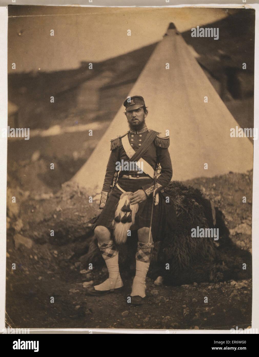 Captain Cuninghame, 42nd Regiment. Captain Cuninghame, 42nd Royal Highland Regiment, full-length portrait, wearing - Stock Image