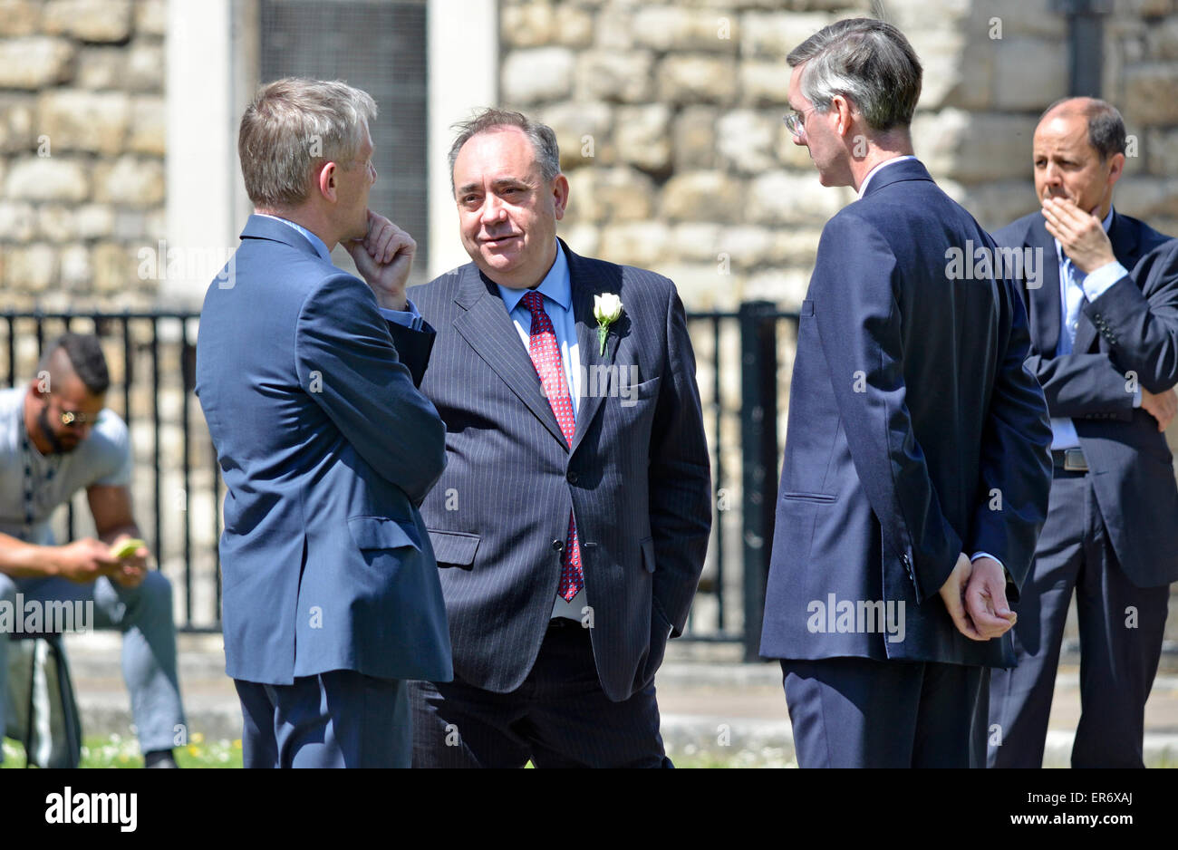 London. May 27th 2015. Alex Salmond talking to Jacob Rees-Mogg on College Green, Westminster - Stock Image