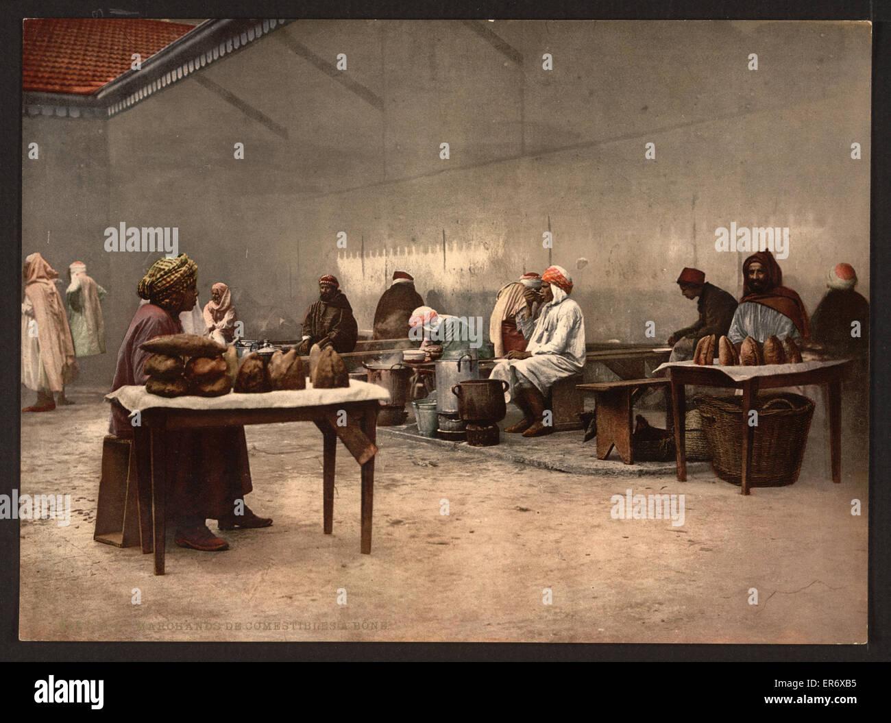 Merchants of eatables, Bona, Algeria. Date ca. 1899. - Stock Image