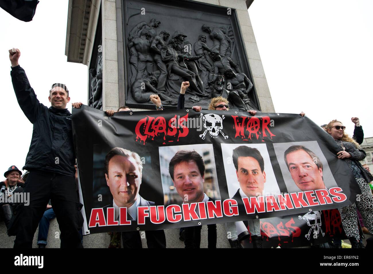 Trafalgar Square. Austerity demo. Class war banner - Stock Image
