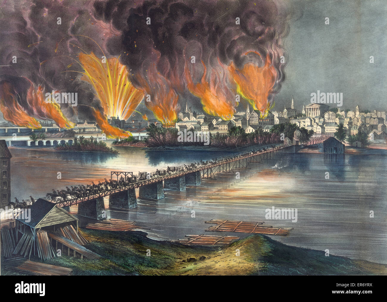 The fall of Richmond, Va. on the night of April 2d. 1865. Date c1865. - Stock Image