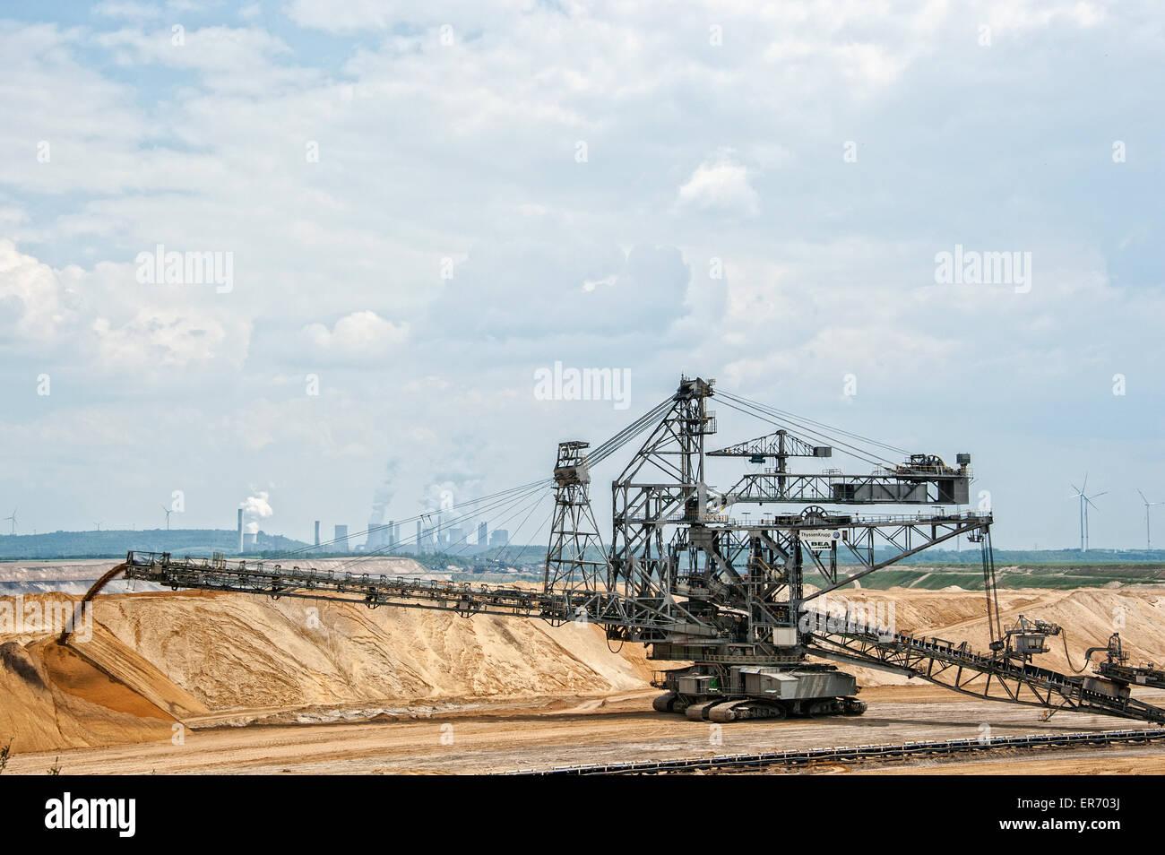 Brown coal mining Garzweiler in North Rhine Westphalia, Germany. Stock Photo