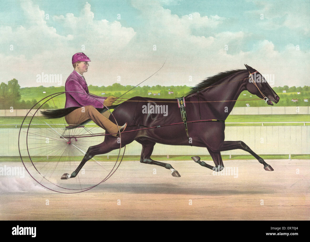 The phenomenal trotting gelding Jay Eye See, by Dictator, dam Midnight, by Pilot Jr: driven by Edwin D. Bithers. - Stock Image