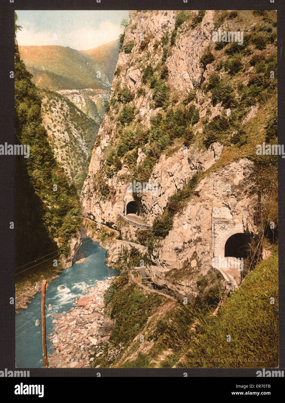 Toscolana (i.e. Toscolano) Valley, roads and tunnels, Lake Garda, Italy. Date between ca. 1890 and ca. 1900. Stock Photo