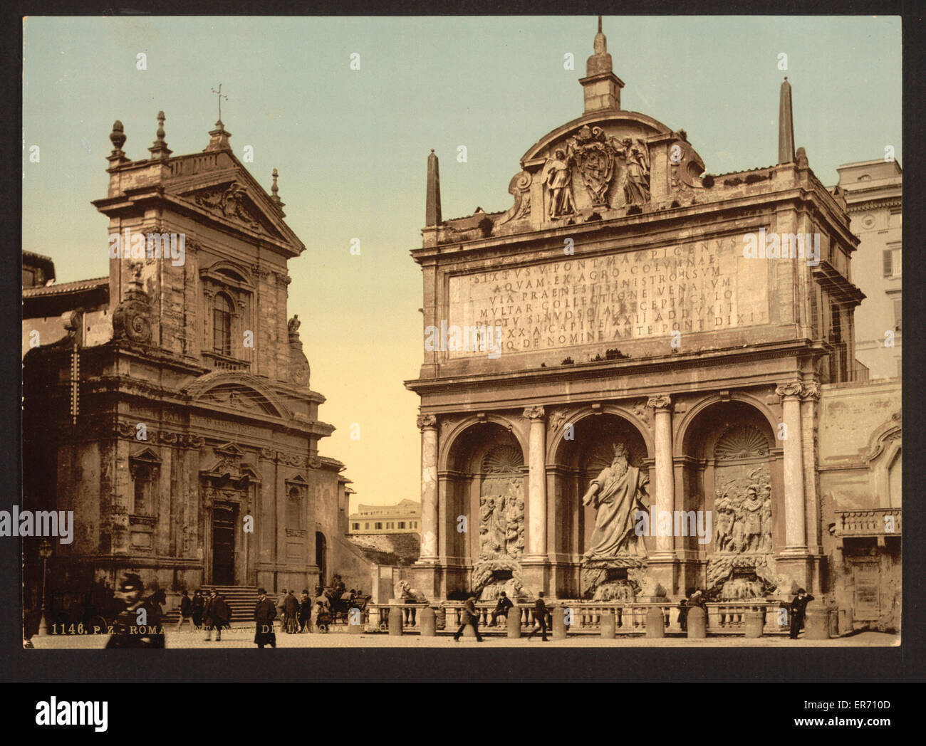 Fountain Acqua Felice, Rome, Italy. Date between ca. 1890 and ca. 1900. - Stock Image