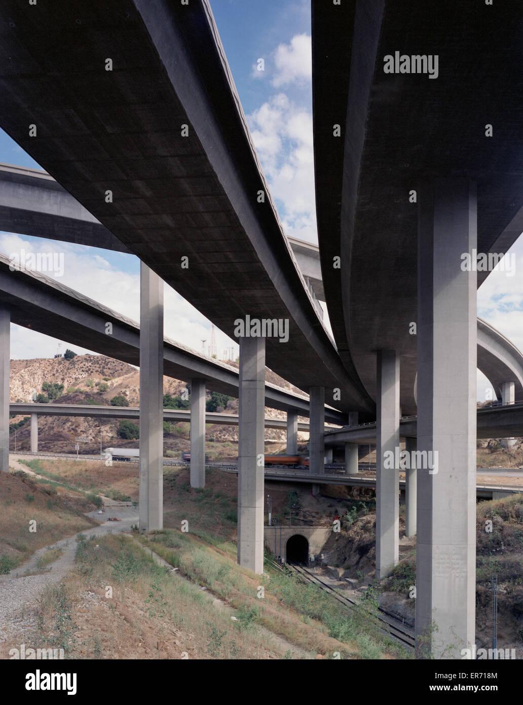 Multi-layered highway overpass - Stock Image